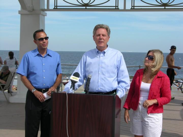 Congressman Frank Pallone speaks as Mayors Ed Johnson, Asbury Park, and Susan Howard, Monmouth Beach, look on.