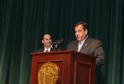 Superintendent of Schools Michael Salvatore welcomes NJ Governor Chris Christie.