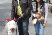 Sarlito, an Old English Sheepdog dressed as a devil, with Eduardo Cervantes and Erika Danieloa.