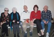 (l-r) Bea Villa, Joan Delehanty, Bernie Villa, Marie Delehanty and John Collins catch up and enjoy the music.