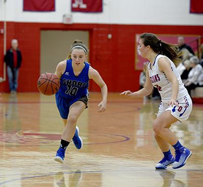 Shore Regional freshman guard Madison LaRosa (21) scored eight points in the win .