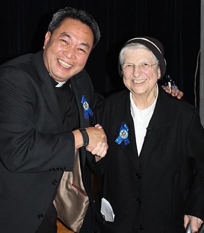St Jerome Sr. Angelina and Fr. PJ  Blue Ribbon