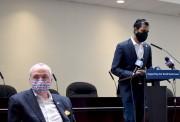 Senator Vin Gopal at the podium